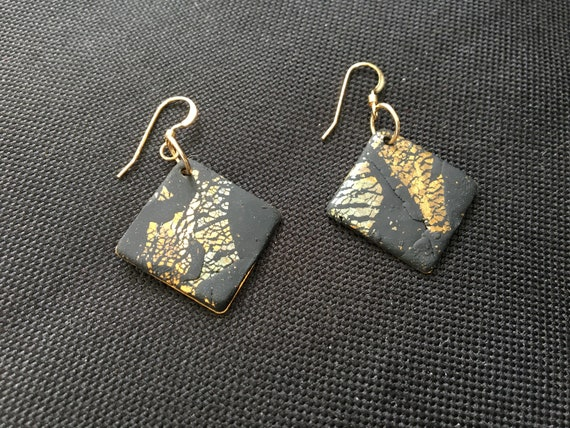 SJC10335 - Earrings - black/copper/silver/gold contemporary handmade polymer clay on diamond shaped piece with 14K gold plated ear wires