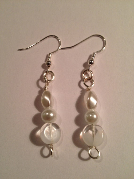 SJC10271 - unique pearl silver earrings, pearl earrings, pearl silver earrings, unique handcrafted earrings, silver earrings,  translucent