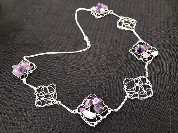 SJC10325 - Necklace - Sterling silver wire crochet diamond shape pieces with and without amethyst chips and sterling silver chain