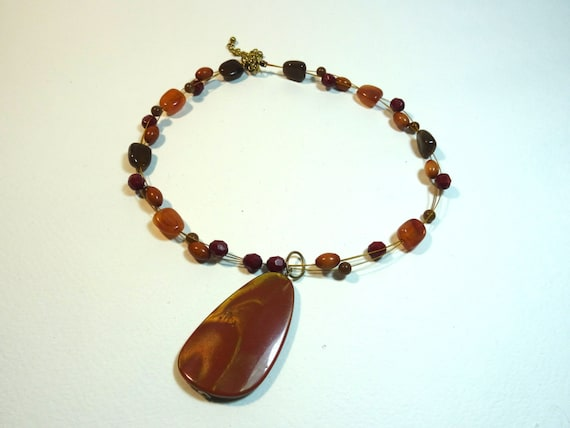 SJC10276 - Vintage  brown stone - SJC10007 - like pendant necklace