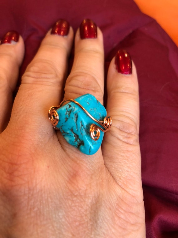 SJC10295 - Handmade copper ring with turquoise wire work