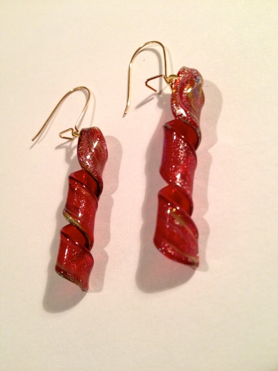 SJC10074 - Gold plated earrings with red twirling glass beads with touches of gold and silver twirls