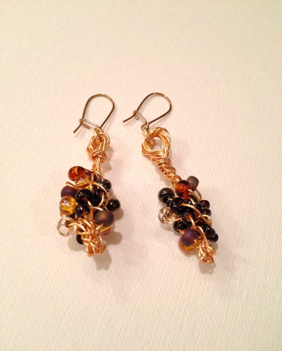 SJC10291 - Wire braided multi-colored (wheatberry) bead earrings