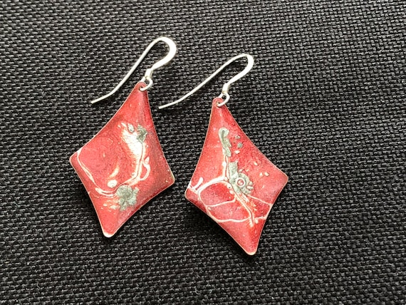 SJC10331 - Handmade kite shape red/multi color enamel painted silver plated earrings and sterling silver ear wires