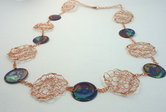 SJC10315 - Handmade enamel and wire crochet necklace with abstract design (multi-colors) and copper chain.