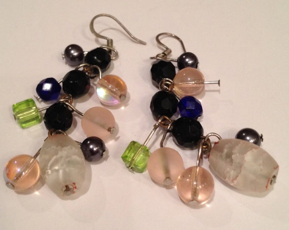 SJC10222 - Multi colored glass and other beads for fancy earrings