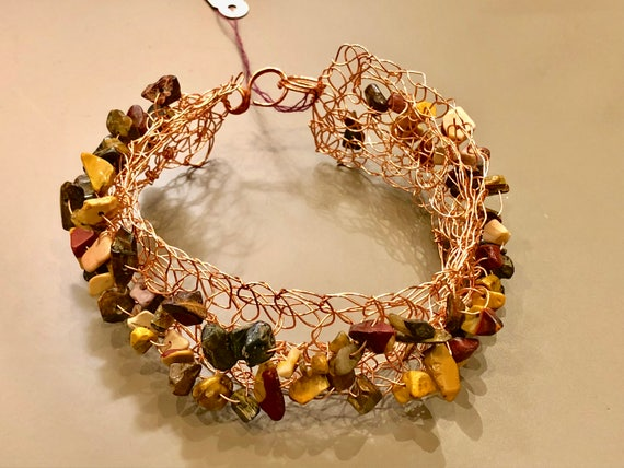 SJC10141 - Handmade copper wire brown crochet cuff bracelet with mochaccino gemstone chips