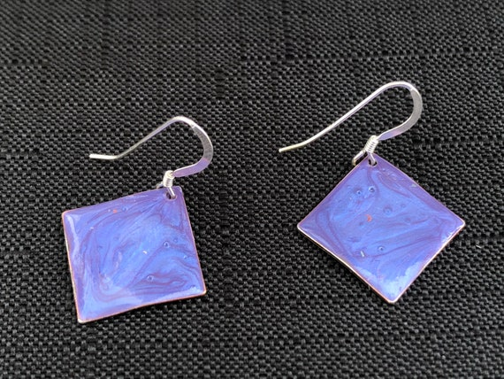 SJC10328 - Handmade small diamond shape purple enamel silver plated earrings