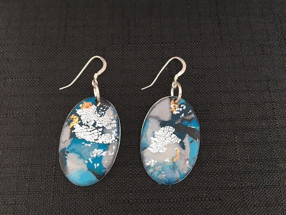 SJC10342 - Earrings - blue/white/silver contemporary handmade polymer clay on oval piece with sterling silver ear wires