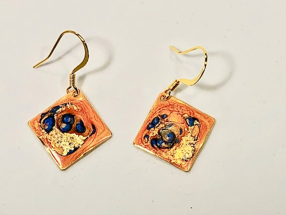 SJC10197 - Handmade small diamond shape orange blue gold enamel gold filled earrings with abstract designs
