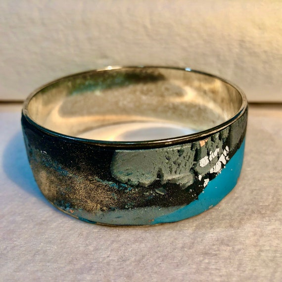 SJC10392 - Handmade contemporary and abstract polymer clay silver plated bangle design