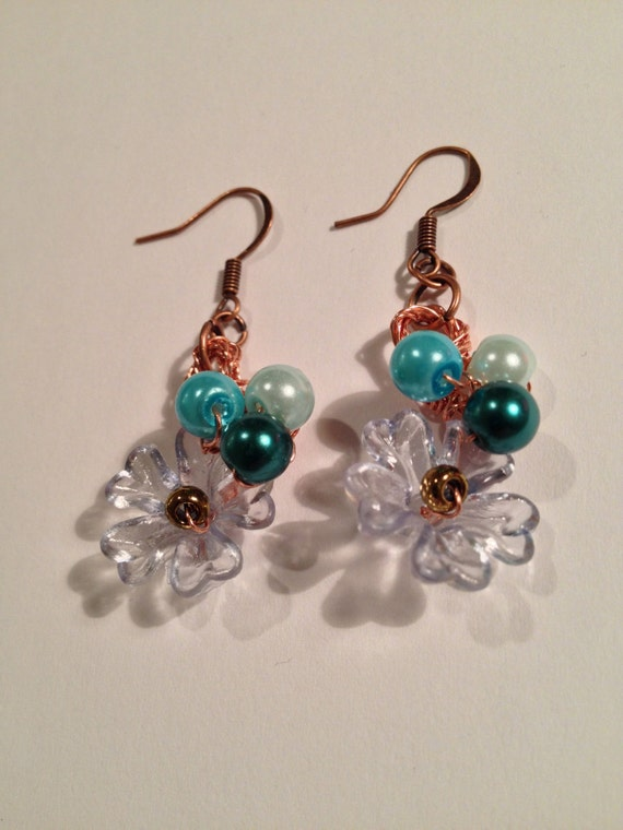 SJC10261 - Spring in Blue Bloom - handmade copper wire crochet earrings with various blue pearls and Lucite flowers.