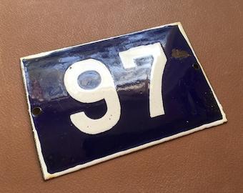 to choose 94,95,96,97,98,99,100 French Vintage Enamel House Street Door Number