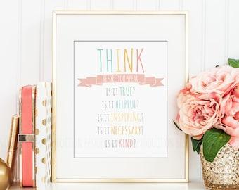 Think Before You Speak, Teacher Gift, Classroom Rules Poster, Classroom Sign, Homeschool Rules, Homeschool Decor Print, Chalkboard Print