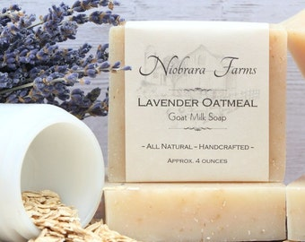 Natural Goat Milk Soap - All Natural Lavender Oatmeal Soap - Homemade Soap - Moisturizing Soap - Exfoliating - Handcrafted Lavendar Soap