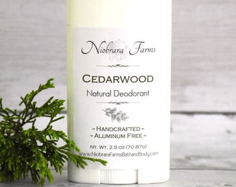 Natural Deodorant for Men - Natural Cedarwood Deodorant Stick - Aluminum Free Mens Deodorant - Handmade Deoderant - 2.5 oz. Stick Deodorant