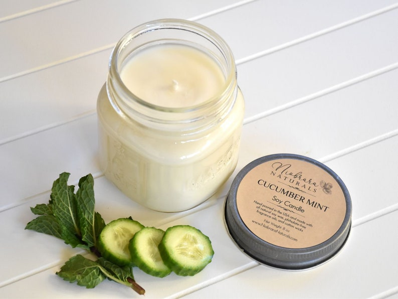 Cucumber Mint Soy Candles Handmade in the USA.