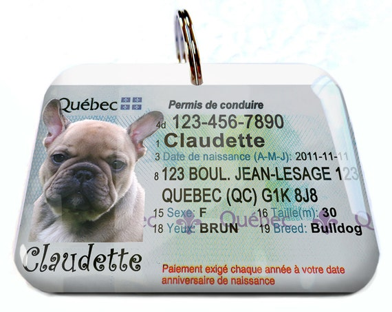 Id For Tags Personalized Driver License Canada Etsy Custom Quebec