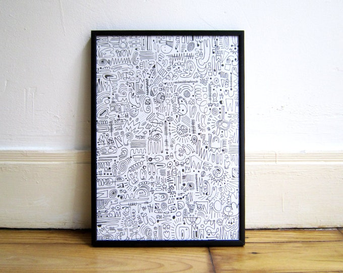 Print, Black lines graffiti, A4 eco-friendly Print on heavyweight recycled paper