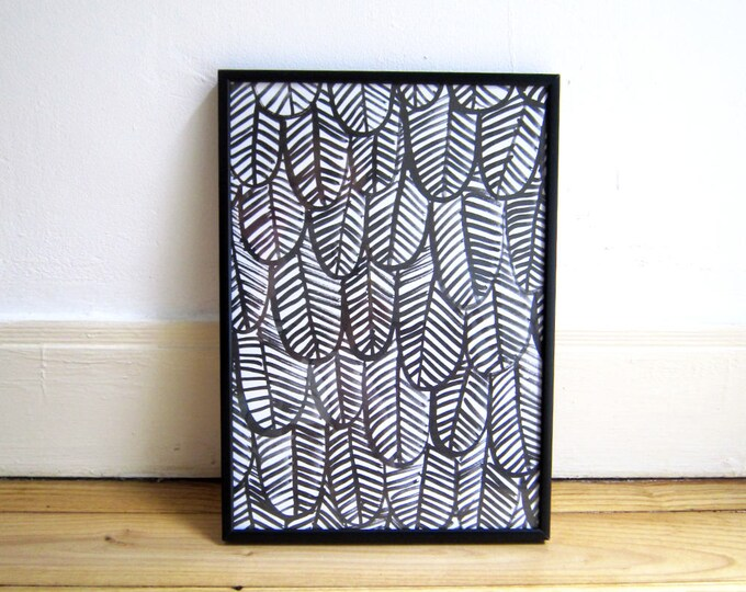 Print A4, Black & white gouache feathers, A4 eco-friendly Print on heavyweight recycled paper
