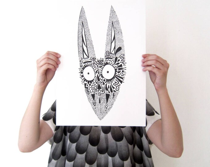 Print, Black monster face, A3 eco-friendly Print on heavyweight recycled paper