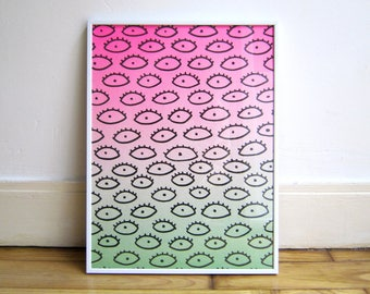 Original A3 art, Airbrushed gradient neon pink and green with black eyes