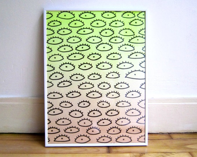 Airbrushed art A3, gradient neon yellow and nude, black eyes drawing, original work