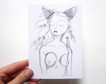 Wild woman art card, pencil drawing digital print on recycled paper