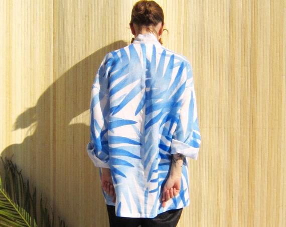 """Linen kimono painted in gradient blue florals """"Cassiopée"""", size XL"""