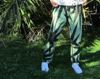 """Linen pants """"Sauge"""", size M, green linen hand painted with black graphics MADE TO ORDER"""