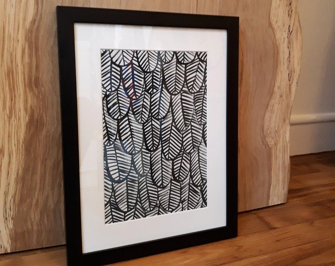 "Framed illustration ""Plumes"""