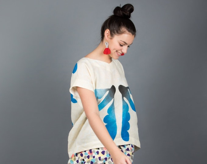 "Linen Hand painted tunic ""flying fishes"""