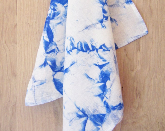 Blue marble linen scarf, hand painted