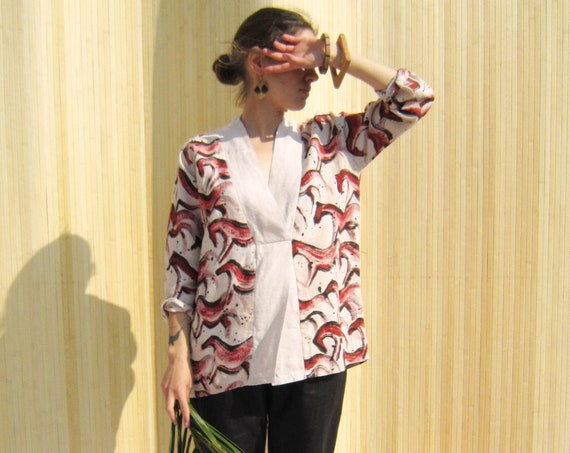 Linen tunic, hand painted with black and red ocre horses, overlap kimono, size M