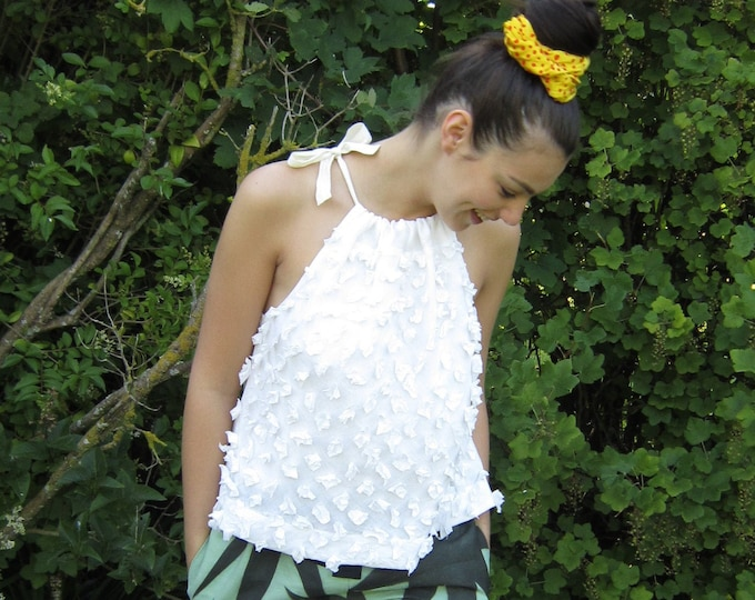 """Linen floral tank top """"Rosa"""", embroidered with linen flowers"""