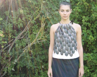 """Linen top """"Crow"""" hand painted with black feathers MADE TO ORDER"""