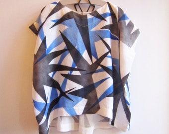 "Linen Hand painted tunic ""Aralia"""