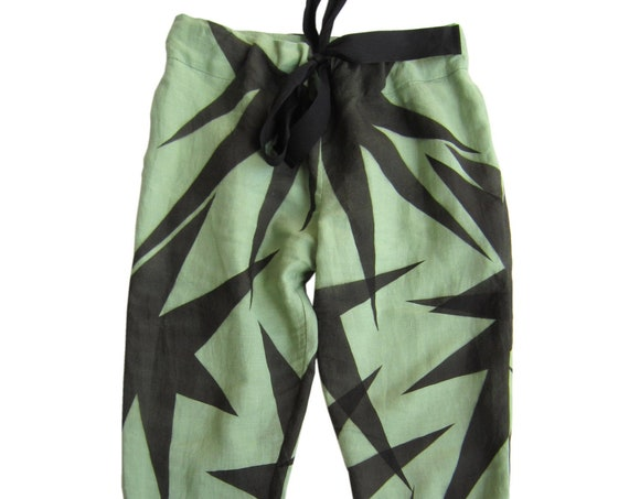 """Linen pants """"Sauge"""", green linen hand painted with black graphics, size S - M"""