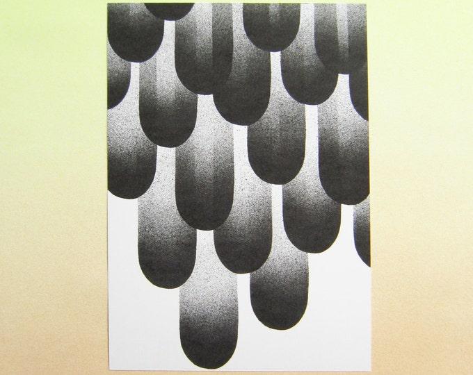"Art Print, A4 Black & white ""Feathers"", digital print on eco-friendly paper"