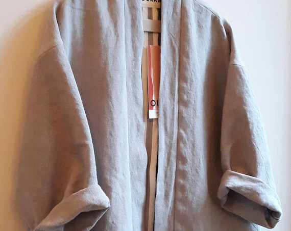 "Heavy linen kimono in grey purple ""Orage"", unique size"