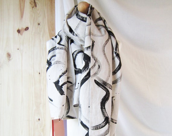 "Hand painted natural linen scarf with black brush strokes horses ""La Harde"""