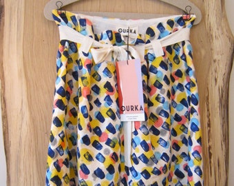 "Linen Hand painted skirt ""Magda"", adjustable waist"