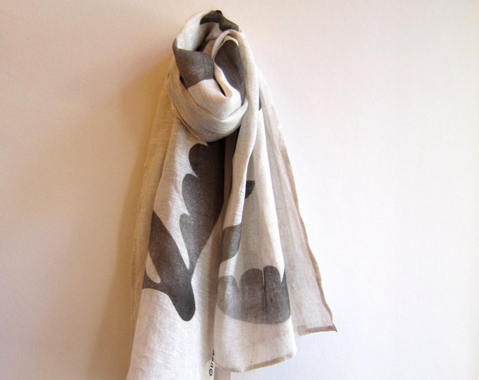 "Linen hand painted scarf ""Totem"" with black flying fishes"