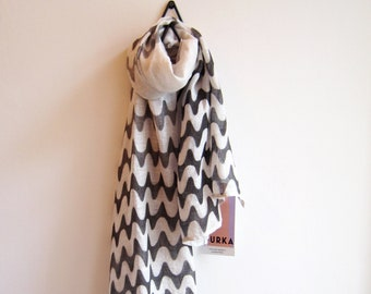 """Linen hand painted scarf """"Iwa"""" with black graphics"""