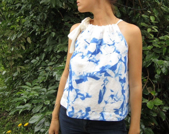"Linen top ""Cristal"" hand painted with abstract marble, size M"