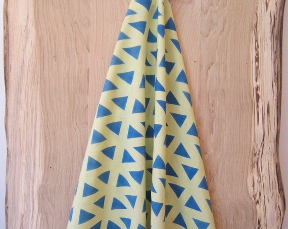 Soft green organic cotton scarf, hand painted with blue triangles