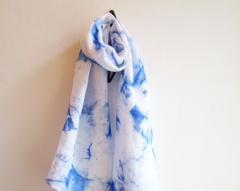 """Linen hand painted scarf """"Shibori"""" with blue abstract print"""