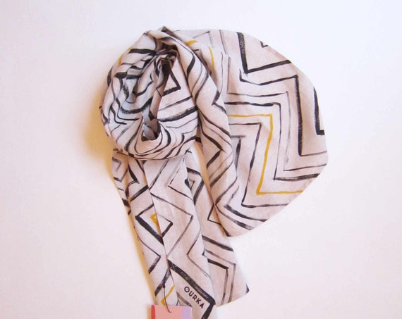 "Hand painted natural linen scarf with black ethnical graphics ""Oko"""