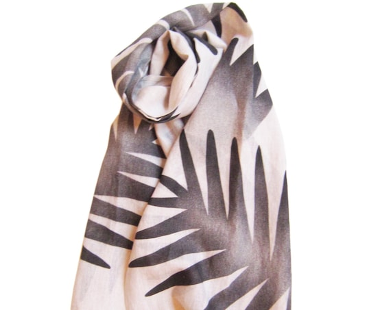 "Hand painted natural linen scarf with black floral graphics ""Medeina"", MADE TO ORDER"