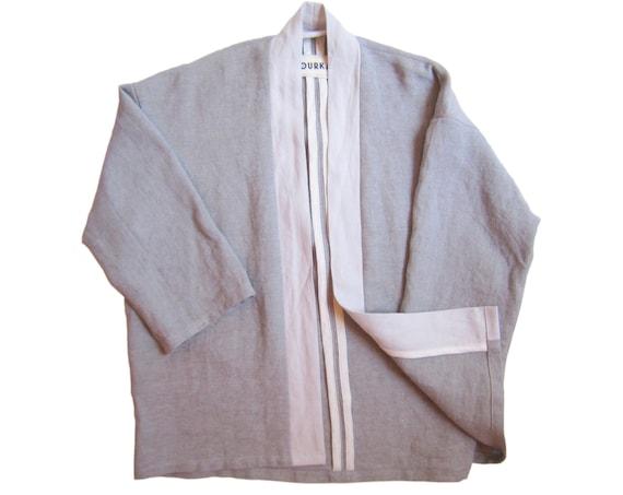 """Heavy linen kimono in grey purple, pearl grey linen collar """"Orage"""", size L"""